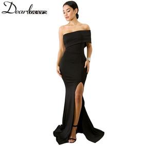 ec016a0374e4 Vestido Largo Lycra Hombros Descubiertos Elegante De Noche