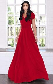 Vestido Largo Manga Corta Fiesta Dama De Honor Rojo Koh Koh