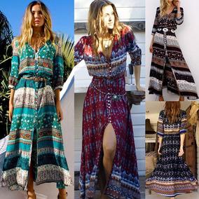11215dd36 Vestido Largo Maxi Boho Moda Colección 2019