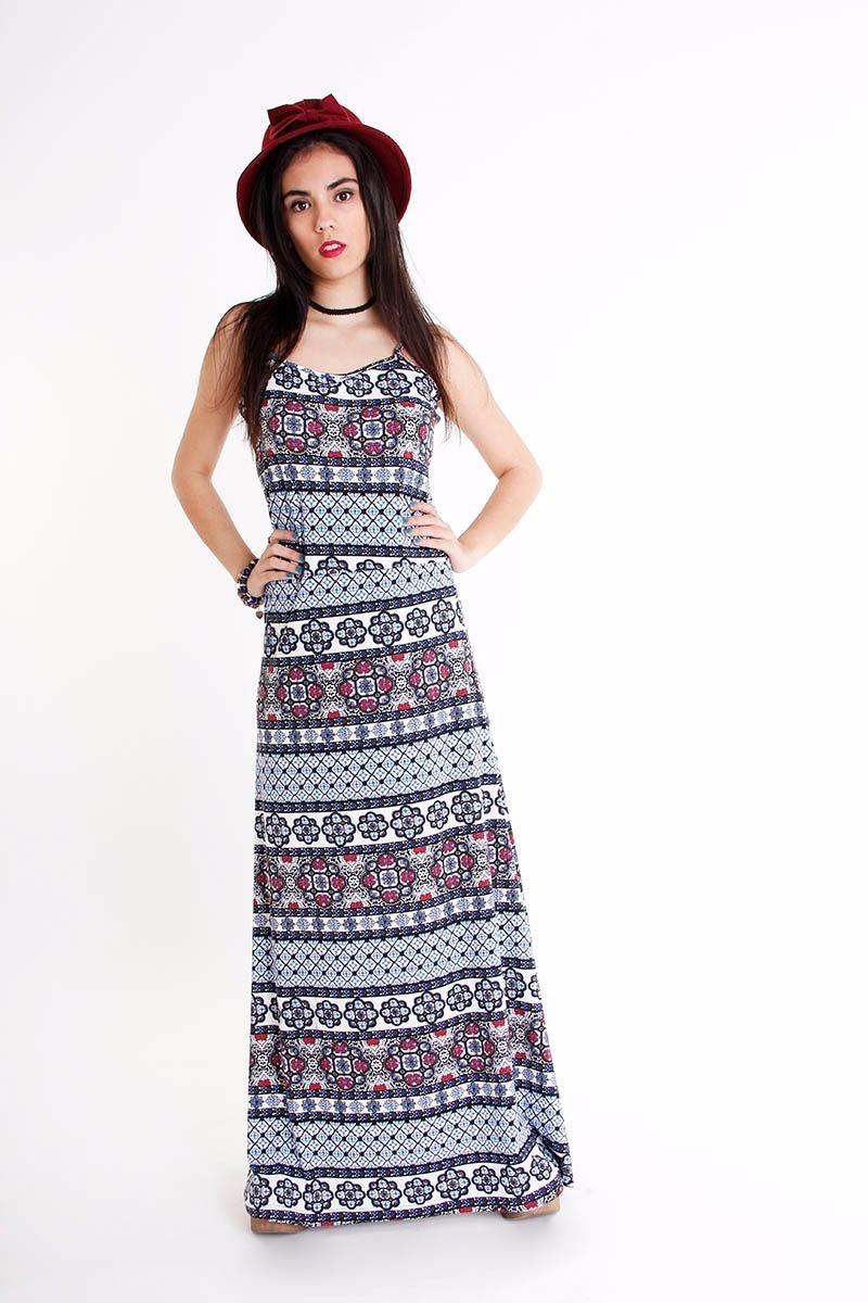 ae61e70f4 Vestido Largo Estampado Verano Mujer Por Docena Casa Andrea ...