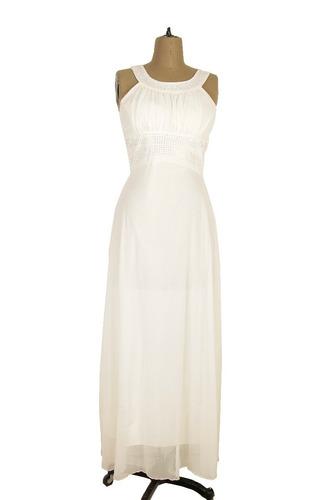 vestido largo mujer cuello en v