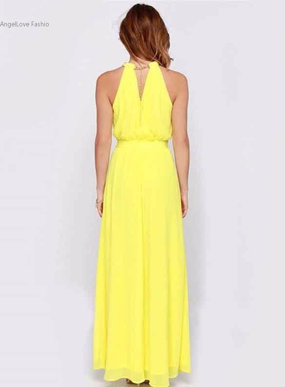 ca6db91b2 vestido largo mujer amarillo eveto fiesta coctel matrimonio · vestido largo  mujer fiesta
