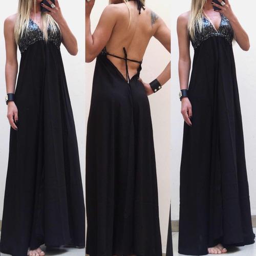 vestido largo mujer importado bordado noche fiesta evento