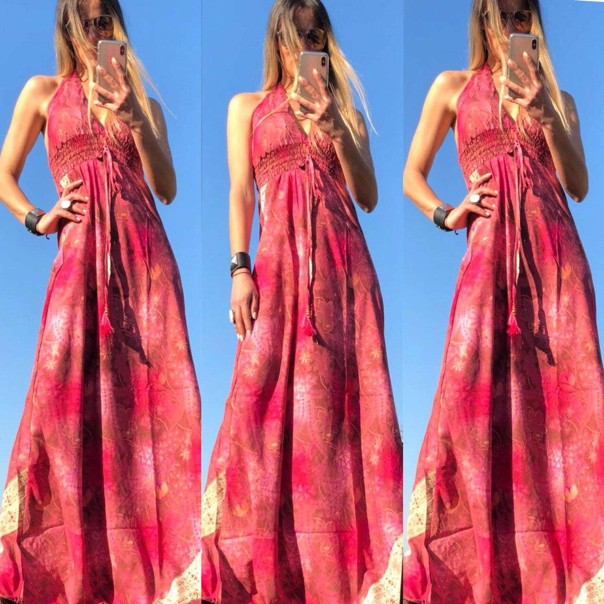 c517d8e6c vestido largo mujer importado estampado fibrana escote. Cargando zoom.