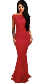Vestido Largo Mujer Rojo Fiesta Elegante Noche Sexy