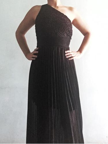 vestido largo, negro bordado