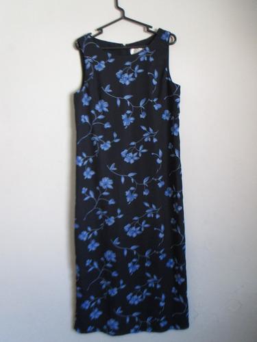 vestido largo negro con flores azules importado remato