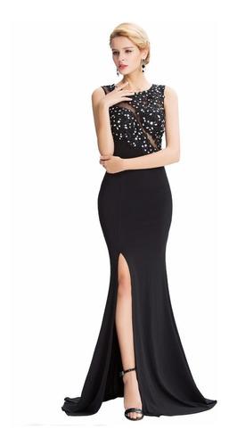 vestido largo negro fiesta talla 6 8 10 y 12 modelo gk 07