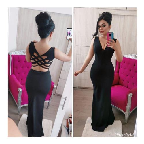 vestido largo negro unitalla