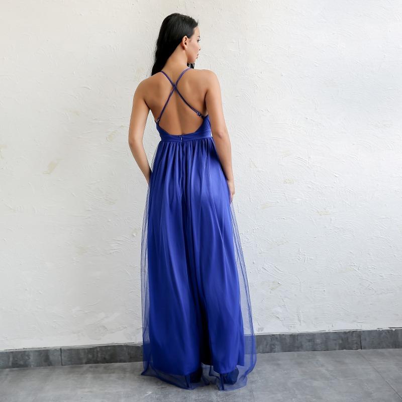 570b0011c157 Vestido Largo Noche Elegante Azul Rey Elegante Sexy / Envío