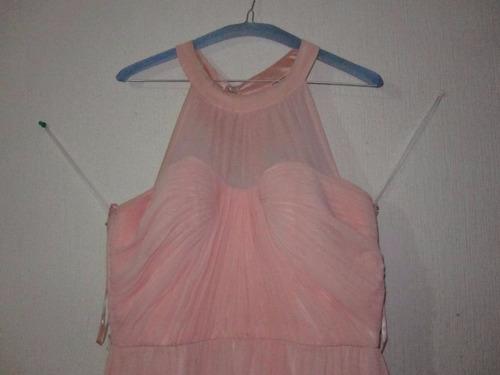 vestido largo para fiesta color durazno mediano
