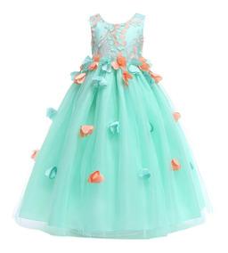 Vestido Largo Petalos Flores 3d Niña Elegante De Fiesta