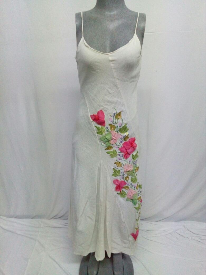 Vestido Largo Pintado A Mano Ana Rosa La Segunda Bazar 230000
