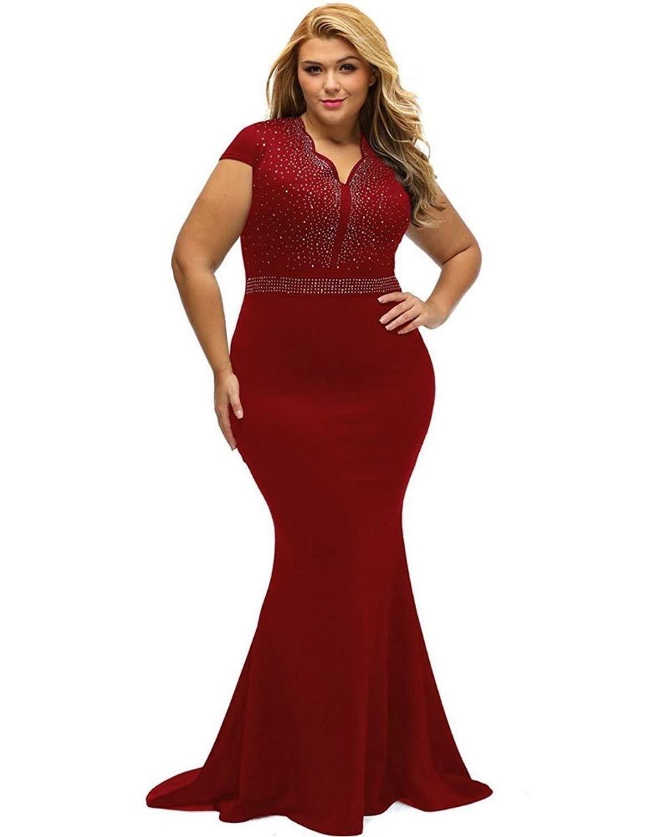 5295a3c7804 vestido largo plus size para fiesta con brillos. Cargando zoom.