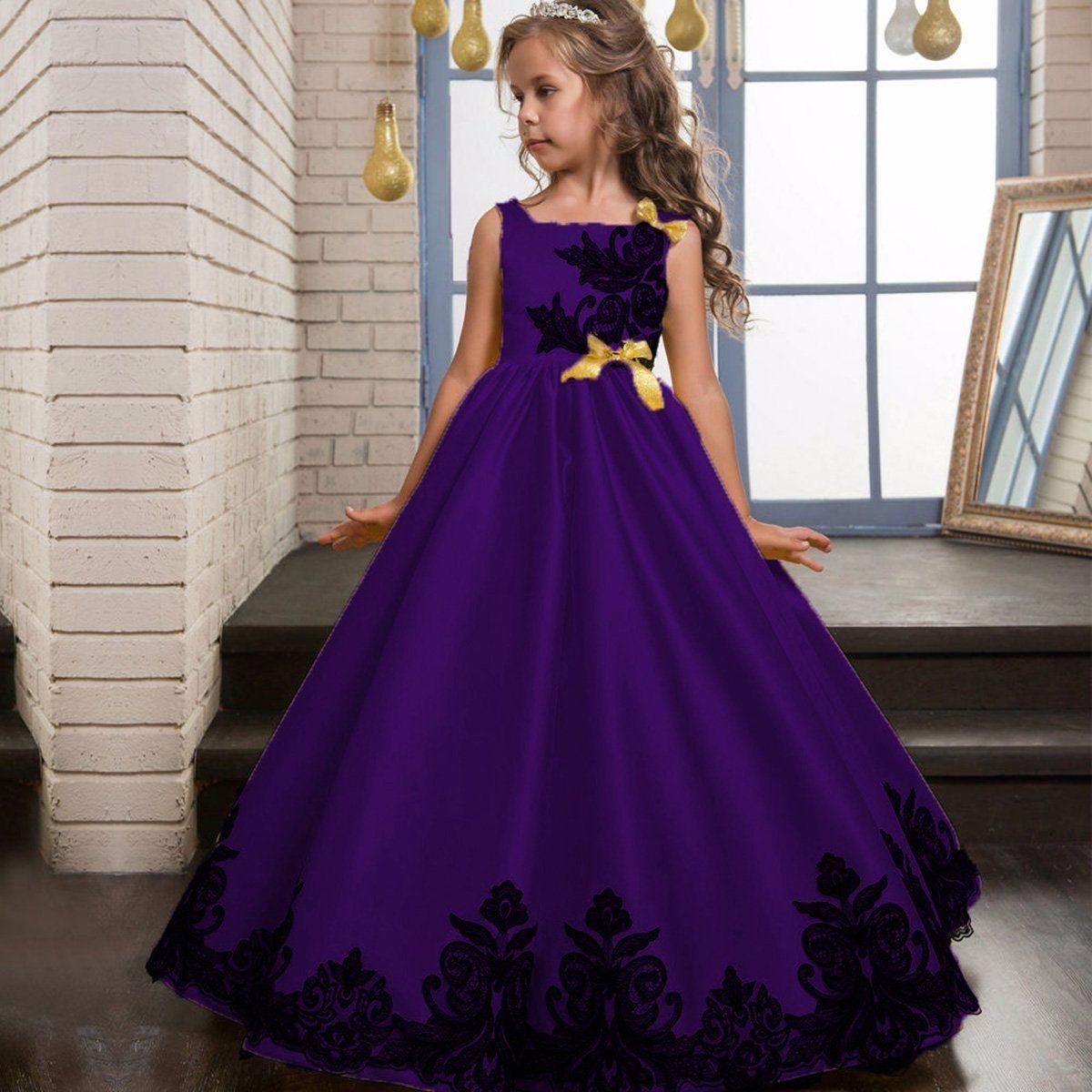 Vestido Largo Purple Fashion Princesa Fiesta Flower Niña - $ 145.000 ...
