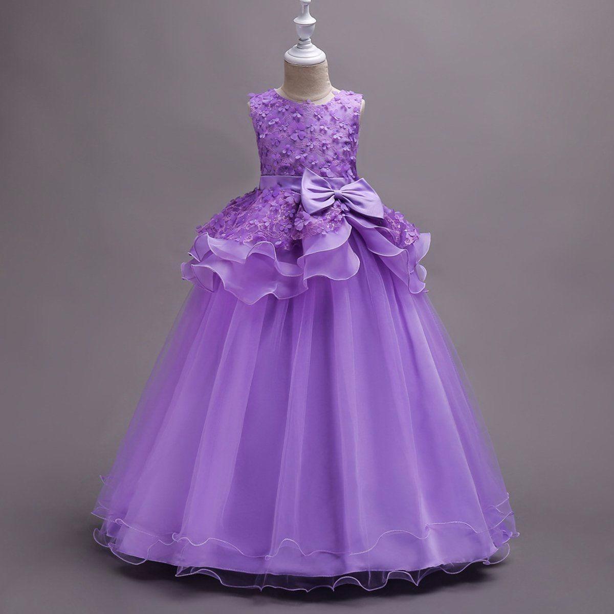 Vestido Largo Purple Fashion Princesa Fiesta Formal Niña - $ 132.000 ...