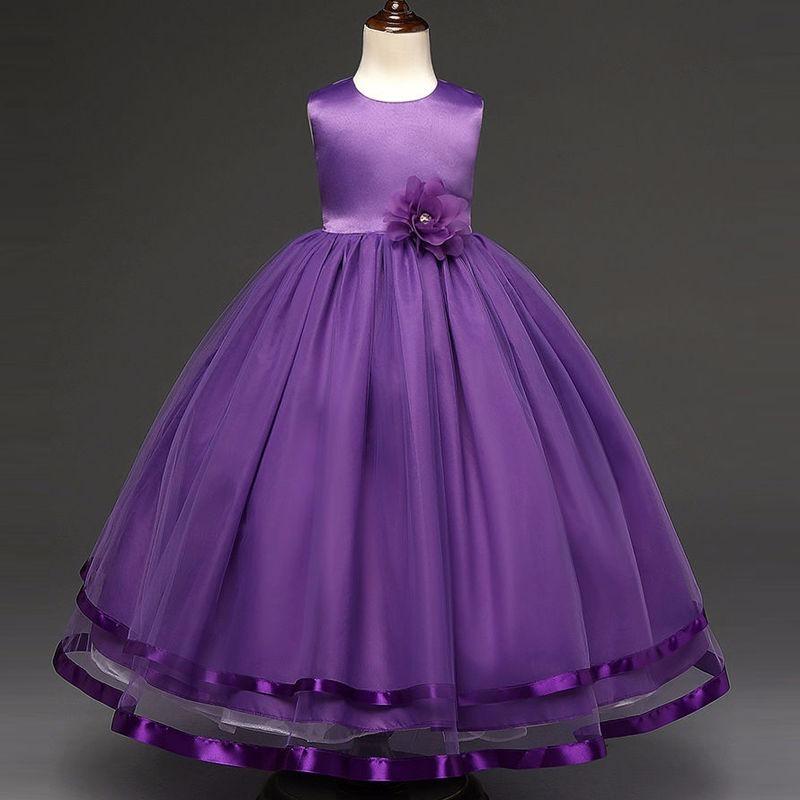 Vestido Largo Purple Princesa Fashion Elegante Fiesta Niña ...