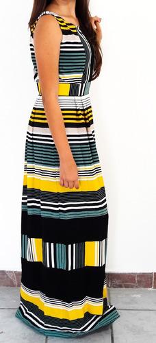 vestido largo rayado en tonos verde/amarillo/blanco