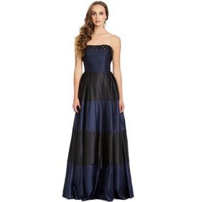 6d1862e3d Vestido Largo Strapless Falda Cortes Horizontales Eva Brazzi