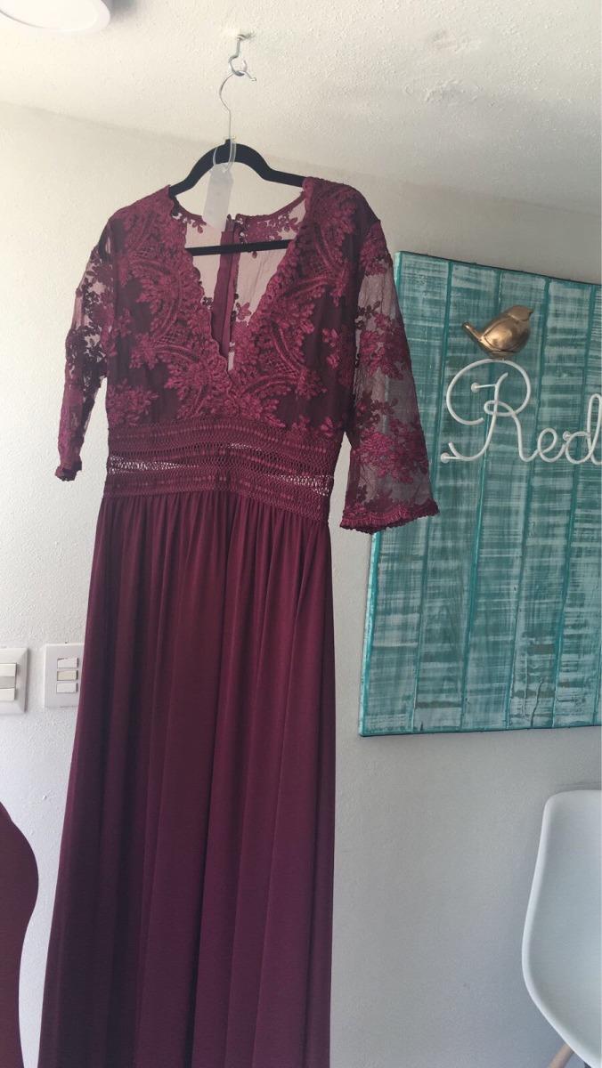 89eaa4461a0ef vestido largo tinto con manga larga de encaje. Cargando zoom.