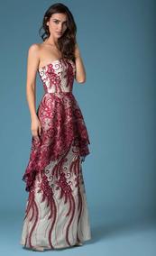 Vestido Largo Vino Y Beige