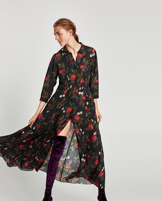 Vestidos largos de flores zara
