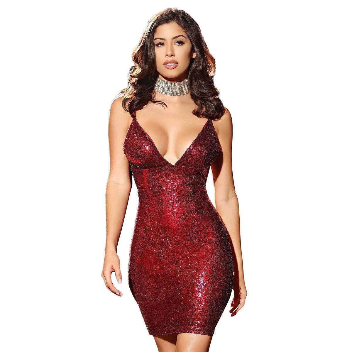 Vestido Lentejuela Corto Fiesta Coctel Rojo Moda 2018
