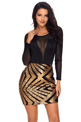 vestido lentejuela dorado falda blusa malla  noche elegante