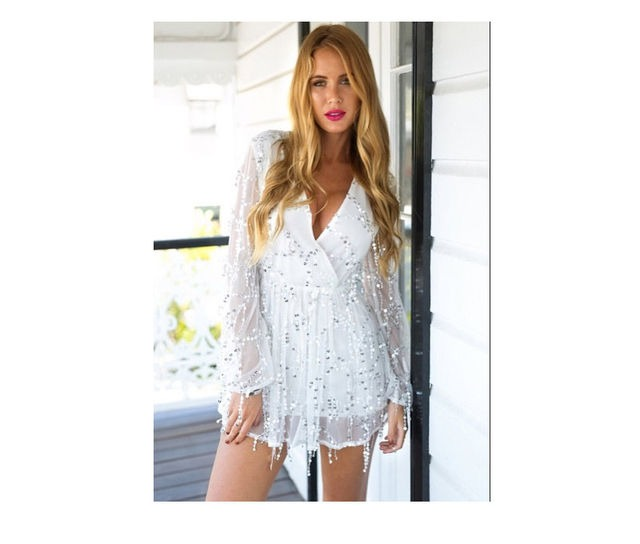 Vestido lentejuelas blanco corto