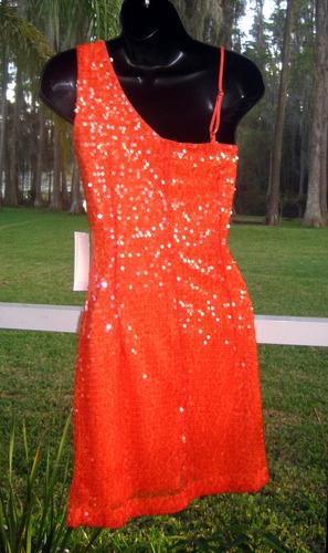 vestido lentejuelas fiesta matrimonio sexy anaranjad s pedid