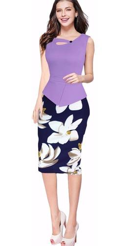 vestido lila peplum sin mangas va 161