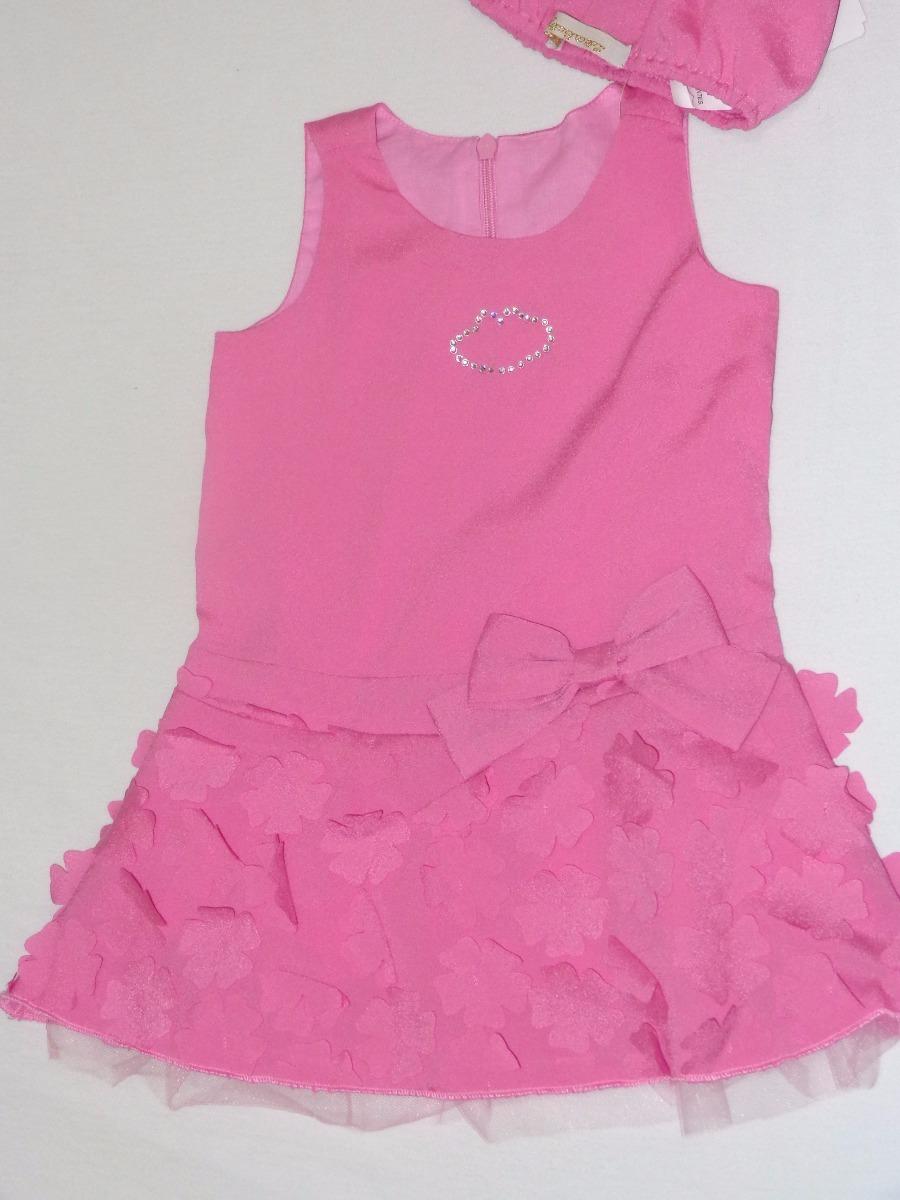 84071ad80 Vestido Lilica Ripilica Com Aplique Flores - Tamanho 6 A 9 M - R ...