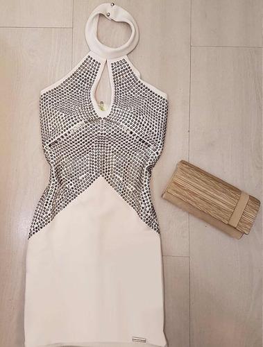 vestido limone reveillon neoprene off white com strass curto