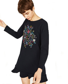 Vestido negro bordado flores zara