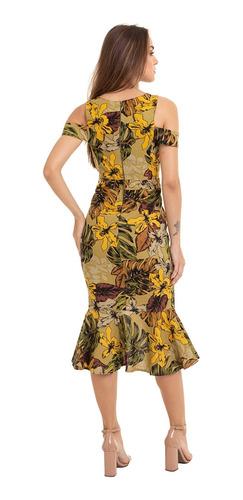 vestido linho floral peplum fenda kinara