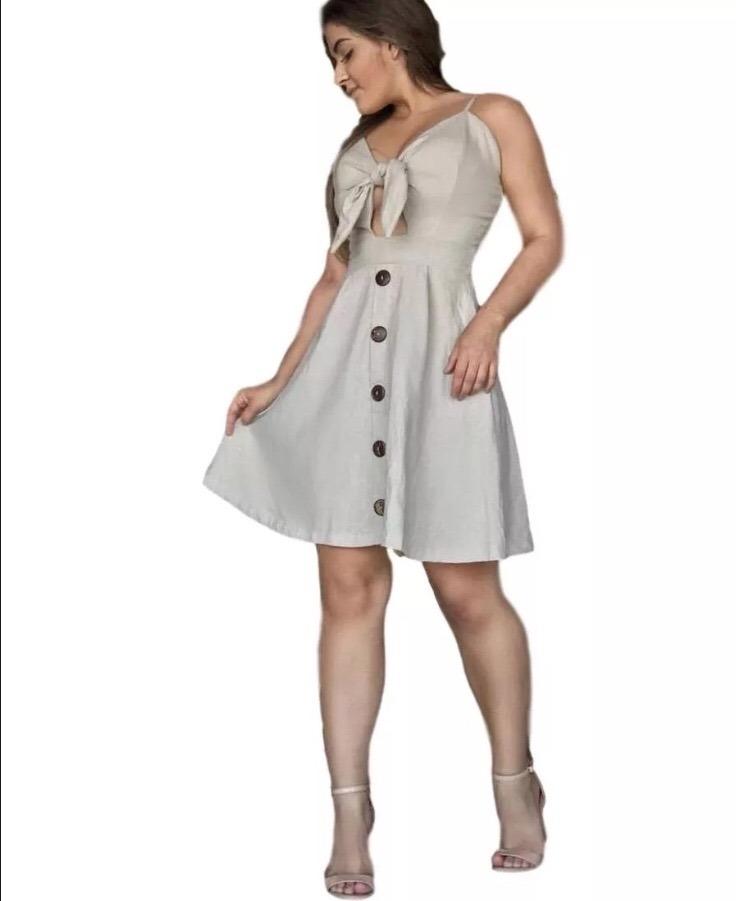 6e2a90696 vestido linho midi rodado com laço no busto e botões barato. Carregando  zoom.