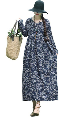 vestido lino algodón mujeres casual vendimia impresión flo