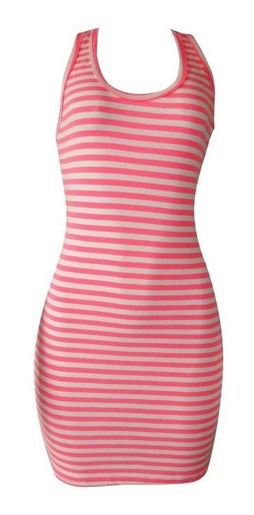 c5951141adfc Vestido Listrado Amarelo Neon Ou Pink Neon! Lindos!!! - R$ 29,99 em ...