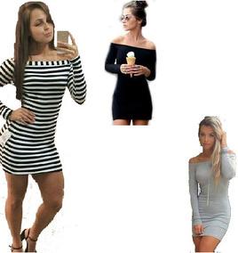 0fa78db8dc Vestido Listrado Manga Longa - Vestidos Casuais Femininas no Mercado ...