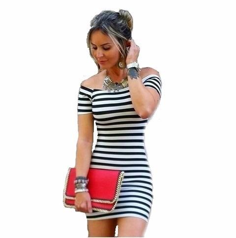 vestido listrado feminino ombro a ombro manga curta