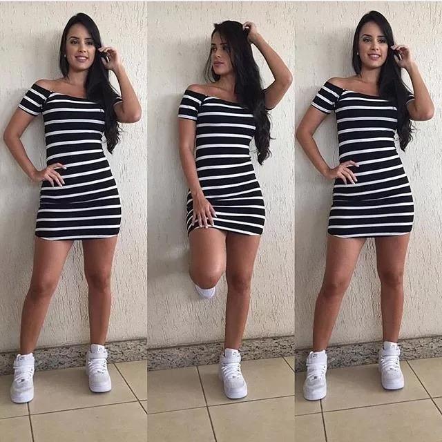 04e8ca1fb1 Vestido Listrado Feminino Ombro A Ombro Manga Curta + Brinde - R  36 ...