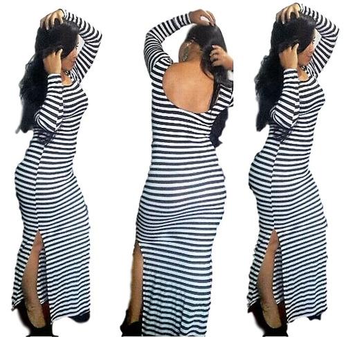 vestido listrado feminino ombro a ombro manga longa longo