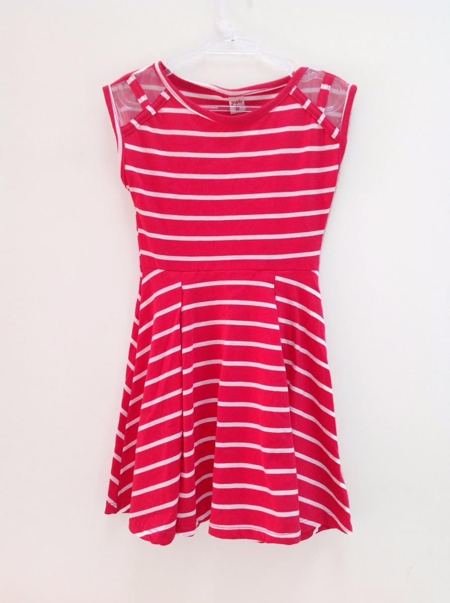 a1c1409322a3 Vestido Listrado Pink E Branco - R$ 30,00 em Mercado Livre