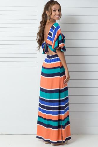 vestido longo aquamar listras azul laranja verde