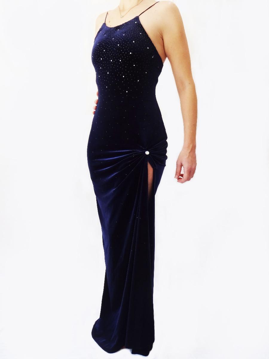 829748410 Vestido Longo Azul Escuro Bordado Com Fenda. - R$ 70,00 em Mercado Livre