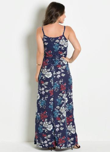 vestido longo azul florido moda evangélica alças feminino