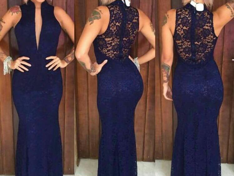 9dbd4b5479513 Vestido Longo Azul Royal Azul Tiffanny Madrinha Casamento - R$ 189 ...