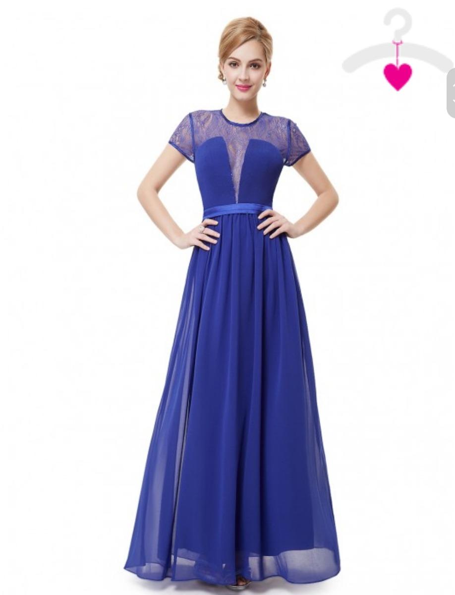 3b7f751c7e Vestido Longo Azul Royal G Madrinha Azul Bic G Manga - R$ 249,00 em ...