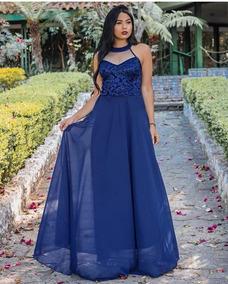 6f64d71c7 Vestido De Madrinha Longo Azul Royal Londrina - Vestidos Longos Femininas  no Mercado Livre Brasil