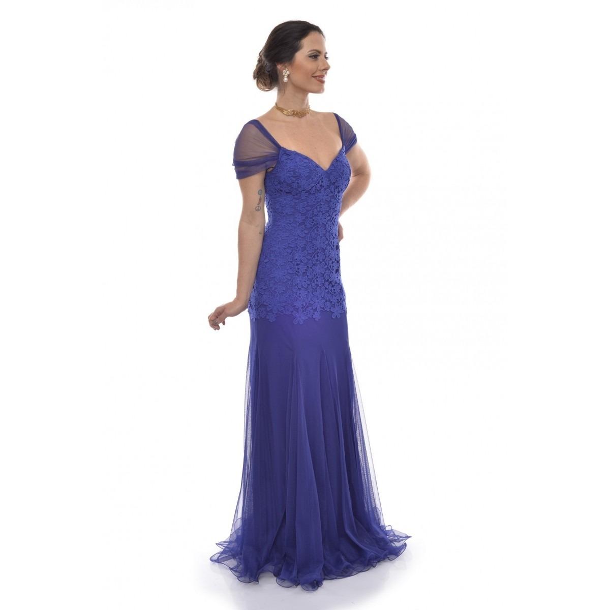 1d4dbd255 vestido longo azul royal tule guipir sophia. Carregando zoom.